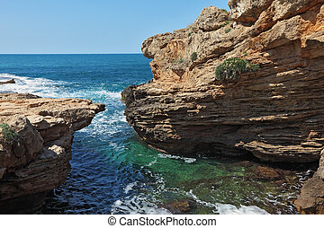 Picturesque sea coast in the early spring White rocks and...