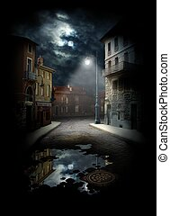 Night Street, photocollage a lot of my shots as a source