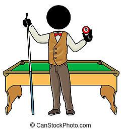 billiard player - Silhouette-man sport icon - billiard...
