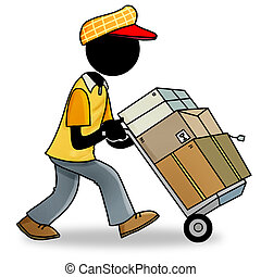 delivery man - Silhouette-man at work - delivery man