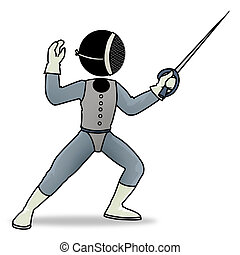 fencing player - Silhouette-man sport icon - fencing player