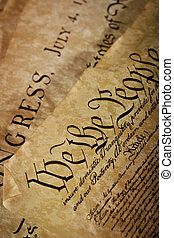 Close-up of the US Constitution - The Constitution for the...