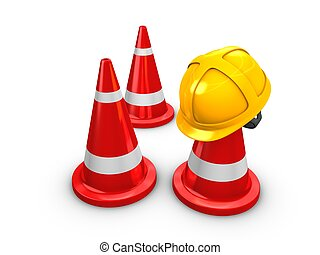 Safety hart and Cones - 3d rendering, Safety yellow hat and...