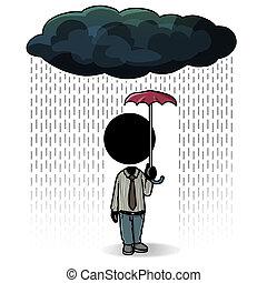 Small coverage - Silhouette-man with small umbrella when...