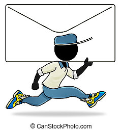 Urgent mail - Cartoon action icon of people at work -...