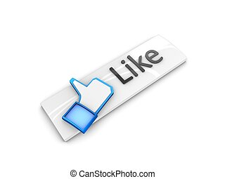like button - 3d rendering; web button Like. Isolated on...