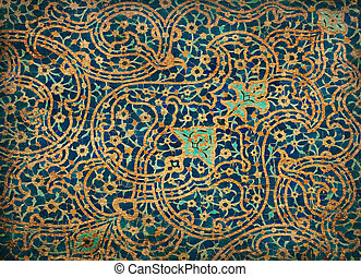 rusty tiled background, oriental ornaments from Isfahan...