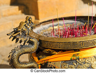 censer in songzanlin tibetan monastery, shangri-la, china