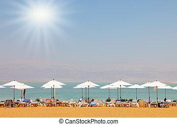 Sun beds  on the Dead Sea