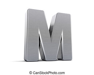 Letter M as a brushed metal 3D object