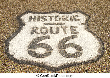 Route 66 sign on pavement - Historic Route 66 sign painted...
