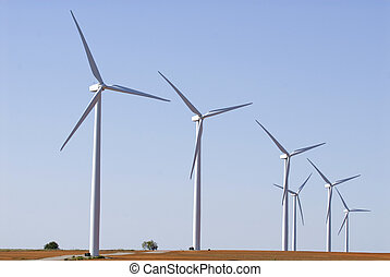 Windfarm on farm land - Modern windfarm located on farmland...