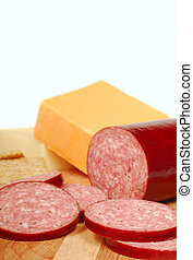 Salami with cheese and crackers - Fresh salami with cheedar...