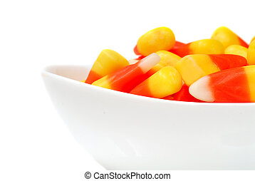 Halloween candy corn in a bowl - Sweet Halloween Candy Corn...