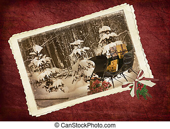 Christmas Charm - Vintage sleigh filled with holiday gifts.