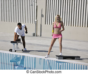 couple exercise fitness outdoor - young couple exercise...