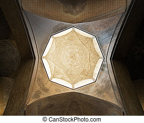 Dome of an ancient mosque, oriental ornaments from Isfahan, Iran