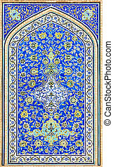 tiled background, oriental ornaments from Isfahan Mosque,...