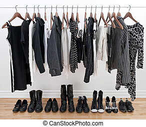 Female black and white clothes and shoes - Female black and...