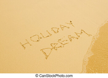 holiday dream written in the sandy beach