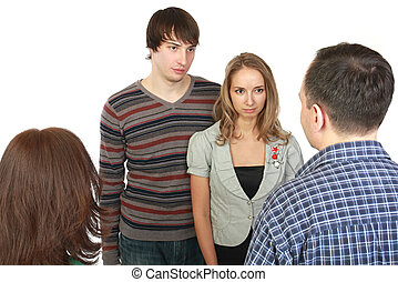 Meeting of young pair with parents. Conflict.
