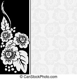 gray flowers on a black and white b