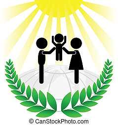 silhouette of a family in a green f