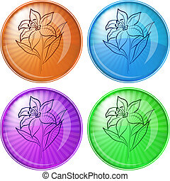Flower lily pictogram, button