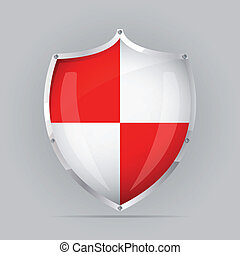 Red an White Shield - Glossy Red an White shield emblem on...