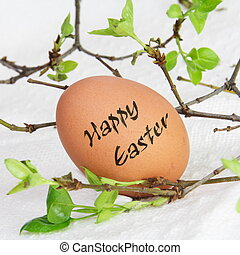 Single Brown Happy Easter Egg