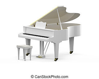 White grand piano - 3D rendering of white grand piano