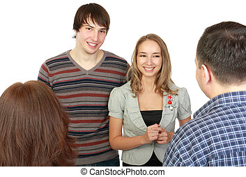 Meeting of young pair with parents Glad new