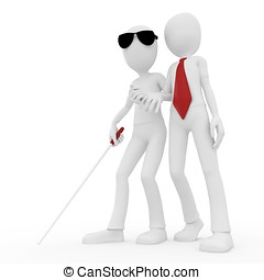 3d man helping older blind man isolated on white