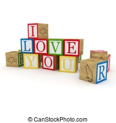 3d cubes with I love you message