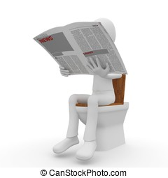 3d man reading on toilet