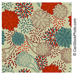 seamless floral vintage background - vector seamless floral...