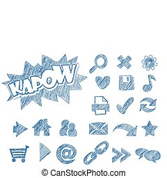 Sketched webicons - Illustration of sketched web icons in...