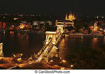 The view of the Chain Bridge by night - The view of the...