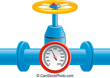 Gas pipe valve and pressure meter over white. EPS 8, AI,...