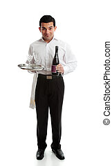 Smiling waiter or servant with wine and glasses - Smiling...