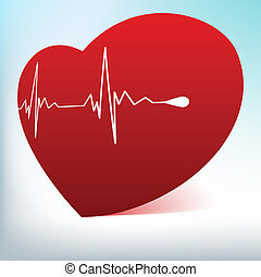 Red glass heart with normal cardiogram. EPS 8 vector file...