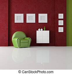 green and red living room