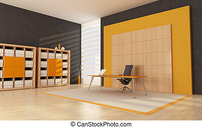 orange office space - black and orange contemporary office...