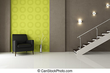 black leather armchair and staircase