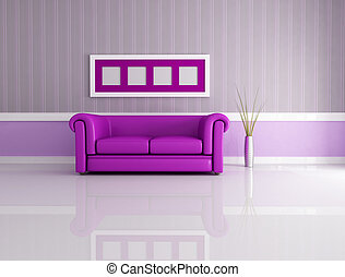purple lounge - minimalist living room with classic leather...