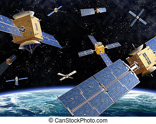 Crowded Space - Illustration of competing satellites in...