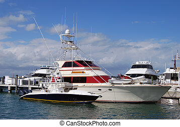 Sportfishing Boats - Sportfishing boats docked at a miami...