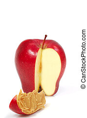 Slice of apple with peanut butter - Delicious red apple...