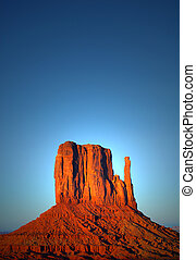 The Mittens at sunset in Monument Valley