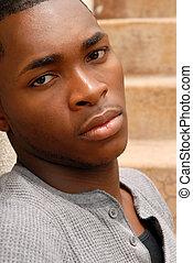 jovem, africano, americano, homem, triste, expressão